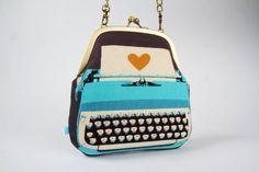 Clutch bag - Typewriter in blue $51.30 @octopurse on etsy!