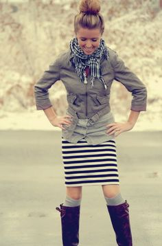 button up with striped skirt. Cute.