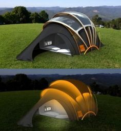 The Concept Tent - Solar powered tent. Locate with remote to make it glow at night, lights, cell phone and other gadget charging pockets, and heated floor.