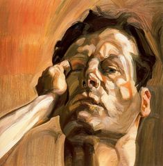 Lucian Freud — Man's Head, self portrait, 1963. Lucian Michael Freud, OM, CH, 1922-2011, was a German-born British painter. Known chiefly for his thickly impastoed portrait and figure paintings, he was widely considered the pre-eminent British artist of his time. He is the grandson of Sigmund Freud.