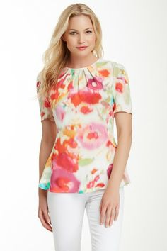 giverny floral soft peplum top by kate spade on