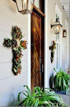 Magnolia crosses house front, 20 decor, magnolia house, door decor, front doors, magnolia decor, wooden doors, christma, cross