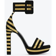 Saint Laurent Paloma Platform Sandal In Black Suede And Gold Lame... ($1,195) ❤ liked on Polyvore