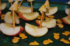 Lesson 12 Jesus Stops the Storm: Matt. 8, Mark 4, Luke 8 - apple boats with pretzel masts and cheese or strawberry sails