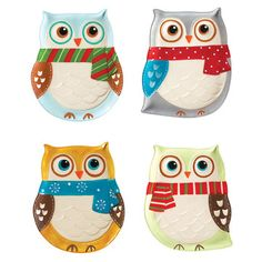 Snowy Owls Plate Set Of 4 now featured on Fab.
