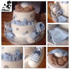 Baby boy baby shower cake decorated with ralph Lauren boots, teddy bear and baby bum
