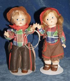 Vintage Vogue Ginny Lot 2 Toddles 1949 Cowboy & Cowgirl Composition Dolls