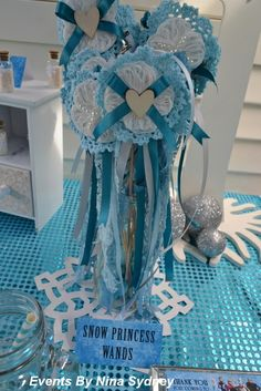 Snow Princess wands from a Frozen Birthday Party! See more party ideas at CatchMyParty.com!