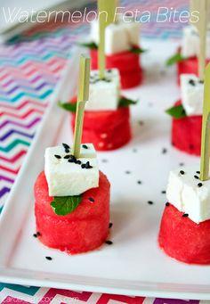 Summer Faves: Watermelon Feta Bites Pinned Via: Carolina Girl Cooks http://www.carolinagirlcooks.com/summer-faves-watermelon-feta-bites/