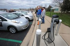 On Earth Day 2014, several sleek, new electric cars lined the parking lot in front of the La-Z-Boy Center in Monroe MI for a show and tell event. Read the story at the link, which goes go monroenews.com.