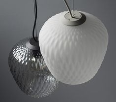 Blown-glass lamp with a digitally created lozenge pattern