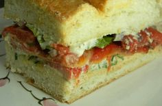 Roasted red pepper and goat cheese sandwiches