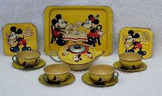 Vintage Mickey Mouse Tin Litho Tea Set 12 Piece Made in England RARE