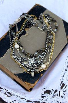 Vintage Rhinestone Layered Necklace~