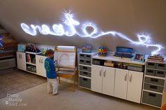wall art, art studios, room decor, christmas lights, playroom, word art, craft room, home offices, craft studios