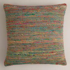 Blue Surf Recycled Sari Throw Pillow | World Market