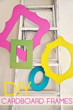 Frames made from Cardboard Boxes!!! ... Use them to decorate a party or as photo props! #birthday #frames