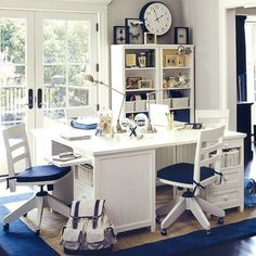 All Kind Of Modern Study Room Furniture Design: Outstanding White Study Room Design With White Shared Wooden Study Desk On Navy Blue Area Rugs And Old Style Swivel Chair And White Wooden Frame Glass Door Ideas ~ cienmaneras.com Furniture Inspiration