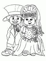 Kleurplaat bruidspaar, kleuters / Coloriage Mariage