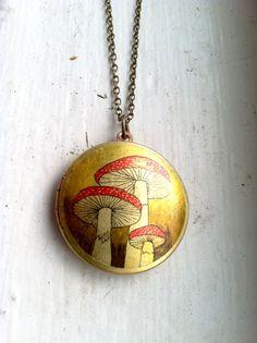 mushroom, locket necklac, long necklaces