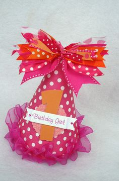Hot Pink and Orange Polka Dot Birthday Party Hat.