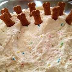 Dunkaroo dip! 1 box confetti cake mix, 1.5 cups of plain yogurt and a tub of cool whip! Served with graham crackers