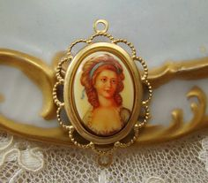 Vintage Oval 18x13mm regency Girl with Blue Ribbon Cameo by alyssabethsvintage