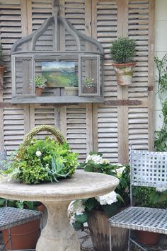 A birdcage filled with succulents on a set of antique shutters.