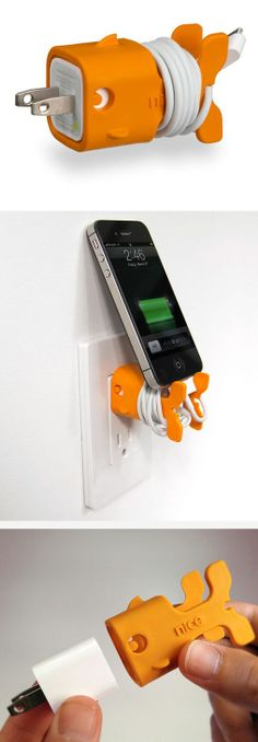 Goldie goldfish cable management solution for iPad, iPhone, iPod // Cute  useful little fish! #product_design