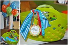 Plastic bins... birthday party favors, birthday parties, birthday idea, goodie bags, music parti, music party, parti favor, 1st birthdays, parti idea