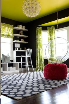 Alisha Gwen | interior designer. Teen room/study., Go To www.likegossip.com to get more Gossip News! Living Rooms, Crafts Rooms, Chalkboards Painting, Alisha Gwen, Chairs, Interiors Design, Colors Schemes, Ceilings, Black Wall