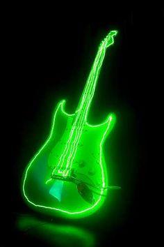 electric neon green guitar