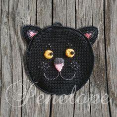 Black Cat crochet  cat pot holder personalised by deepblue22at