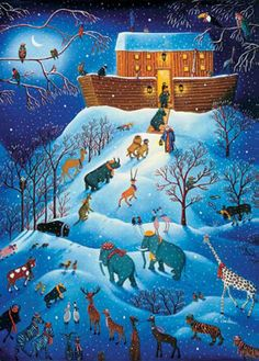 RARE Ravensburger 1000 piece jigsaw puzzle features an image by Catherine Perdreau called Return to Noah's Ark. I love that it is set in winter and that the animals have on their winter hats and scarfs! I have this puzzle in my collection to work but haven't done so yet. #ravensburger #noahsark #catherinperdreau