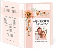 Wedding Program Templates: Behold Design Letter Single Fold, Peach Colors. DIY Printable Wedding Ceremony Template