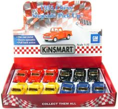 """Save $17.89 on 12 pcs in Box: 5"""" 1955 Chevy Stepside Pickup 1:32 Scale (Black/Blue/Red/Yellow); only $41.99"""
