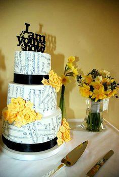 awesom cake, music cakes, yellow roses