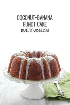 Moist banana bundt cake with sweetened coconut throughout and a tart lime glaze. Recipe from bakedbyrachel.com