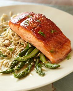 Broiled salmon with Honey/Dill glaze...you have to scroll down the page