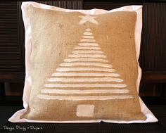 DIY Holiday Burlap Pillows--would be easy to buy a pillow and paint it