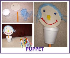 Have child color or paint the parts of the face onto a circle of paper. Glue the face onto a craft stick. Punch the craft stick through the bottom of the cup to make the puppet. Push the stick up and down and puppet moves.