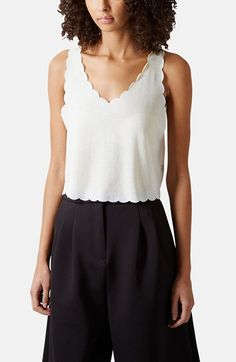 Topshop Scalloped Hem Crop Tank available at #Nordstrom