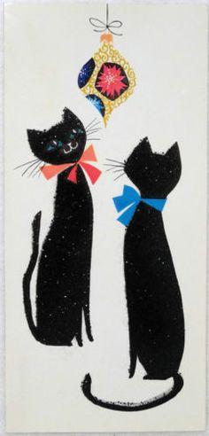 ador kitti, cat christmas cards, kitti cat, christmas greetings, cat illustr, christma kitti, christma greet, black cat, holiday cat