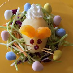 "Hippity Hop Pear Salad - Have fun with your kids this Easter by serving this ""Hippity Hop Pear Salad"" as a healthy side dish or dessert!"
