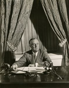 President Franklin D. Roosevelt Broadcasting his First Fireside Chat Regarding the Banking Crisis, from the White House, Washington, DC, March 12, 1933