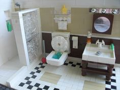 awesome bathroom. clearly not minifig scale though... one could take a bath in that toilet.