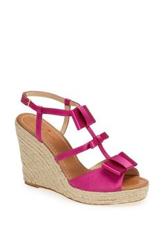 In love with the pink bows on this Kate Spade New York wedge sandal.