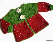 Knitted baby jacket Red Strawberry baby girls red cardigan/