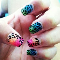 Solar ombr nails with cheetah design for 3d nail salon cypress tx