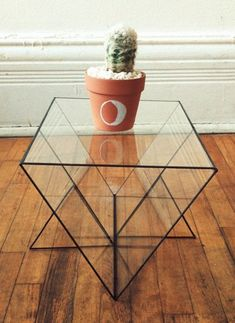 Glass geometric table